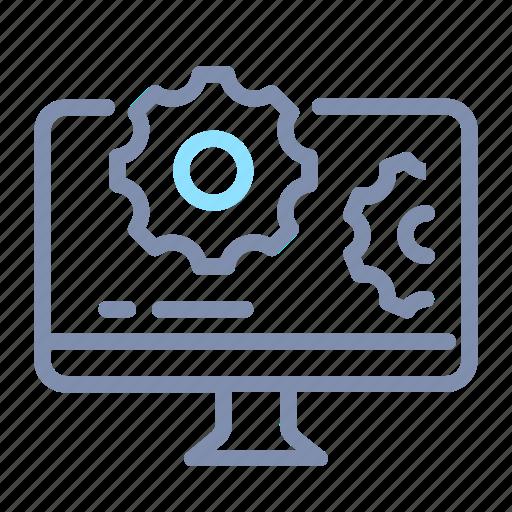 computer, desktop, gear, optimization, seo, web, website icon