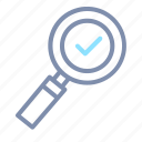 checkmark, find, magnifier, magnifying, optimization, search, seo icon