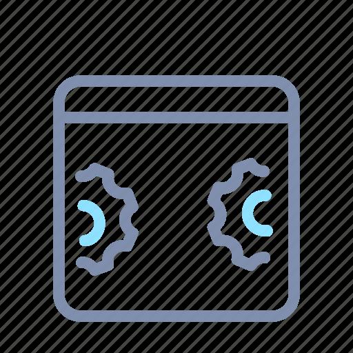 gear, optimization, panel, seo, webpage, website, window icon