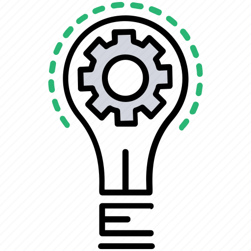 gear inside bulb, innovation, innovative ideas, seo planning, strategic planning icon