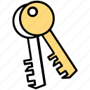 access control, keys, keyway, password, security token icon