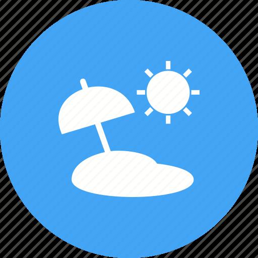 beach, blue, sand, sky, summer, sun, umbrella icon