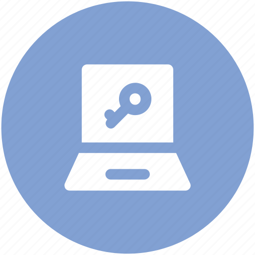 internet security, key sign, laptop, monitored, pc protection, privacy, spyware icon