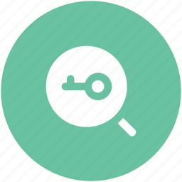 analyzing, discovery, key sign, magnifier, opportunity, research symbol, search icon
