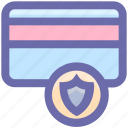 shield, debit card, credit card, security, atm card, secure icon