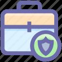 suit case, shield, bag lock, bag, brief case, locked, bag secure icon