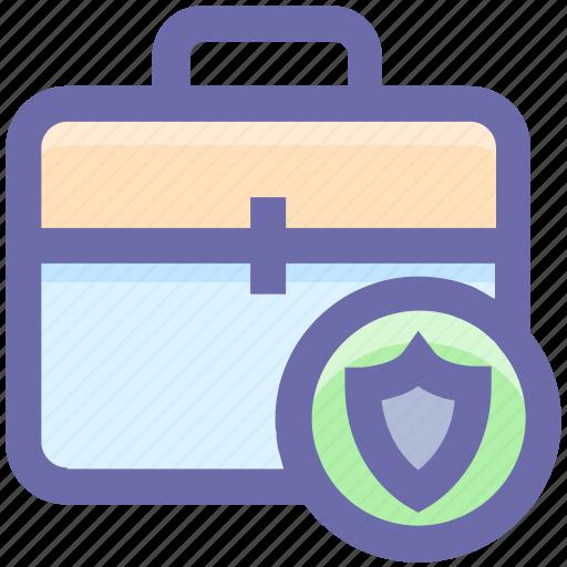 bag, bag lock, bag secure, brief case, locked, shield, suit case icon