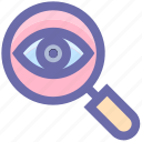 crime, eye, lock, magnifier, magnifier eye, review, search, security icon