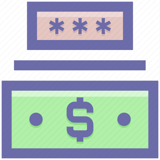 cash, dollar, money code, password, safe money, security icon