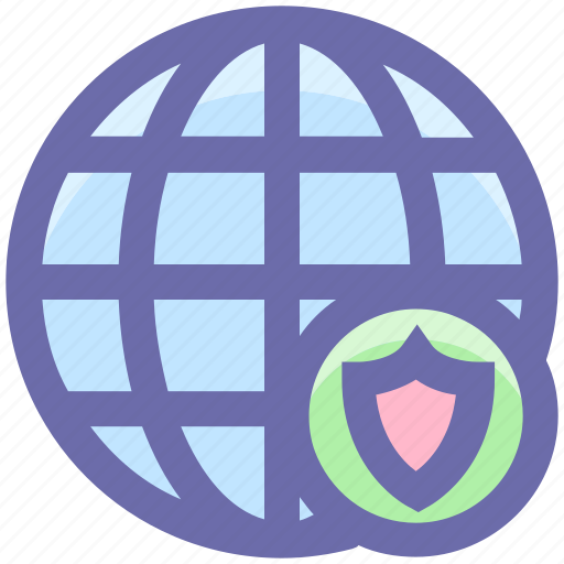 cyber security, globe protection, protect, security, shield, world globe icon