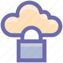 cloud computing, cloud security, cloud storage, lock, network icon