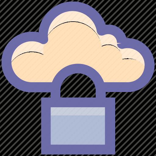 cloud computing, cloud security, cloud storage, lock, network icon