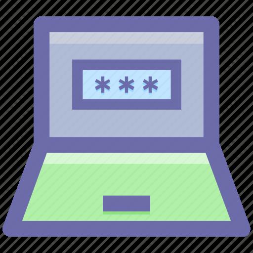 account login, laptop, login, security pin, user login icon