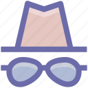 spy, glasses, hipster, hat, incognito icon