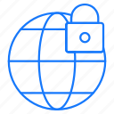 globe, locked, secure, world icon