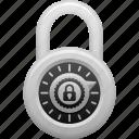 combination lock, lock, locked, padlock, security icon