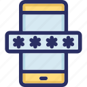 encryption, mobile, password, phone, protected icon