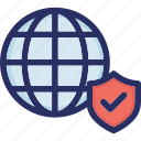 global, globe, internet, network, protected icon