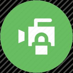 cctv, inspection, lock sign, monitoring, spying, surveillance, video camera icon