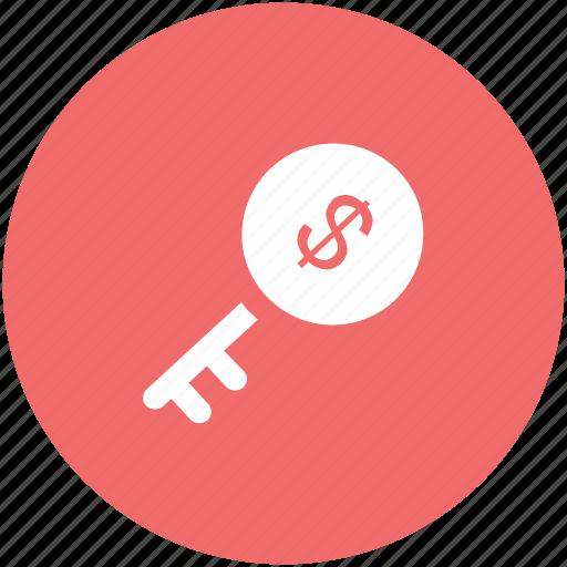 dollar key, dollar sign, economy, key, key currency, key money, profit icon
