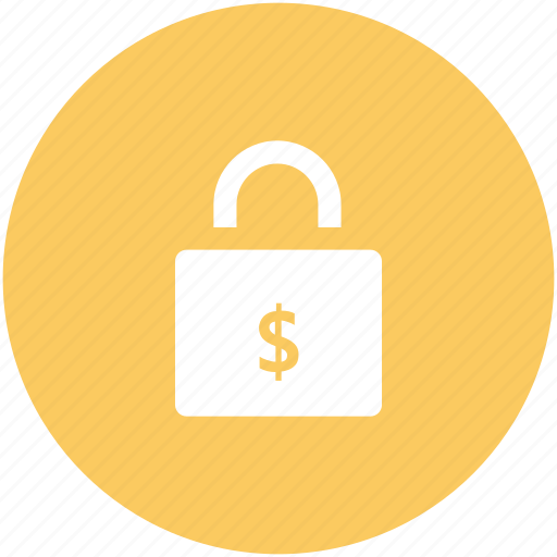 dollar sign, finance security, insurance, lock, safe banking, savings, shielding icon