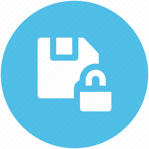 data protection, data security, database, floppy disk, lock sign, locked data, prevent icon