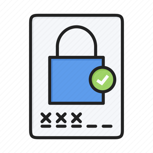 accept, locked, login, protect, safe, security, tick icon