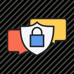 dialog, encrypt, forum, message, protection, sms, talk icon
