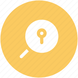 analyzing, discovery, keyhole, magnifier, opportunity, research symbol, search icon
