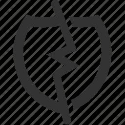 break, broken, hack, indefensible, irrepressible, shield, unsafe icon