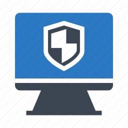 lcd, monitor, protection, security, shield icon