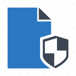 document, file, protection, security, shield icon