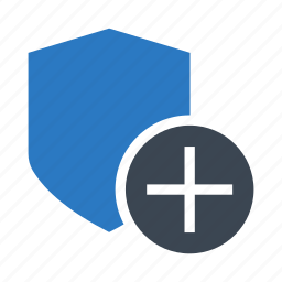 add, plus, protection, security, shield icon