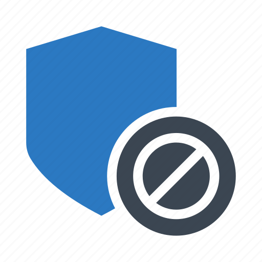 ban, block, protection, security, shield icon