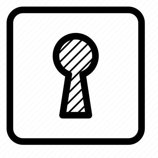 keyhole, lock, locked, private, security, square icon