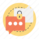 encrypted messaging, encryption, privacy policy, private chat, secure message icon