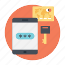 mobile banking, safe banking, safe payment method, secure transaction, wireless banking icon