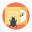 bug file, debugging, malware, software bug, virus icon