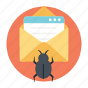 email virus threat, malware, spam email, virus hoax, web beacon icon