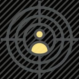 crosshair, focusing target, human target, marketing, seo target, target person icon