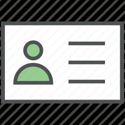 id, id card, identification, identification badge, identity, personal id, personal info icon