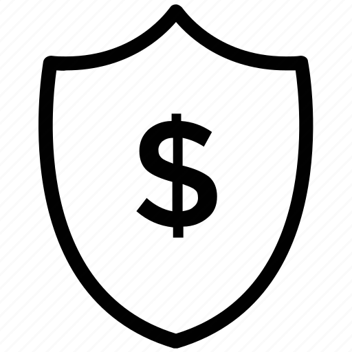 currency protection, dollar sign, money protection, shield icon