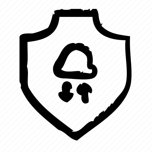 cloud, protection, safety, secure, security, shield, sync icon