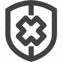 delete, protect, security, shield icon