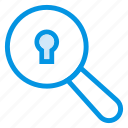 key, lock, magnifier, search icon