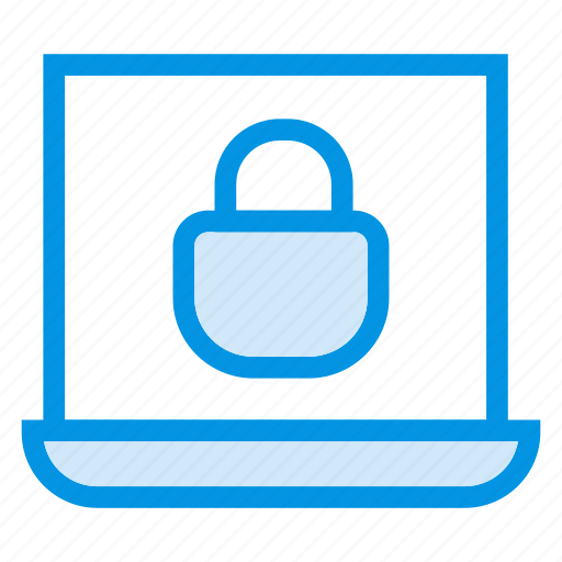 computer, laptop, locked, security icon