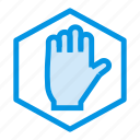 hand, road, stop, warning icon