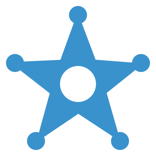 badge, military, police, star icon