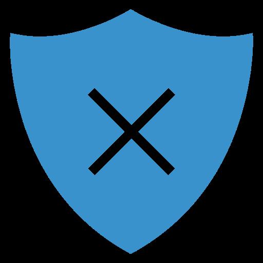 cancel, remove, security, shield icon