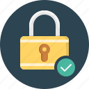 approve, check, lock, safety, security icon